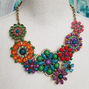 🌈Kaleidoscope of Colors Beaded Floral Necklace